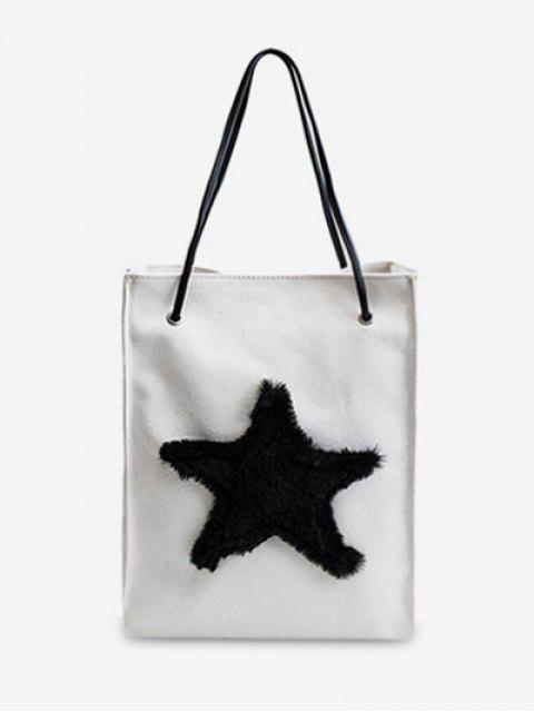 ladies Star Embellished Canvas Shoulder Bag - WHITE  Mobile