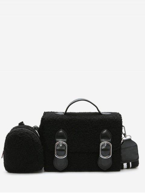 trendy Bucket Fluffy 2 Pieces Crossbody Bag Set - BLACK  Mobile