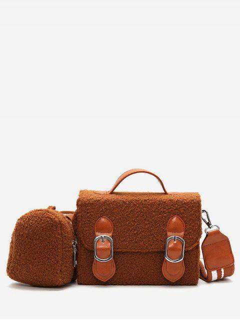 fashion Bucket Fluffy 2 Pieces Crossbody Bag Set - BROWN  Mobile