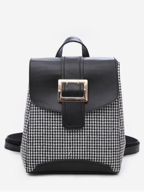 sale Plaid Pattern Buckle School Backpack - BLACK  Mobile