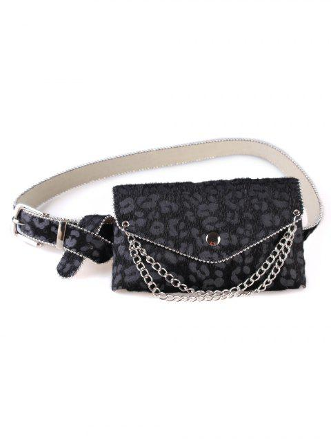 ladies Unique Leopard Chain Fanny Pack Waist Belt Bag - BLACK  Mobile