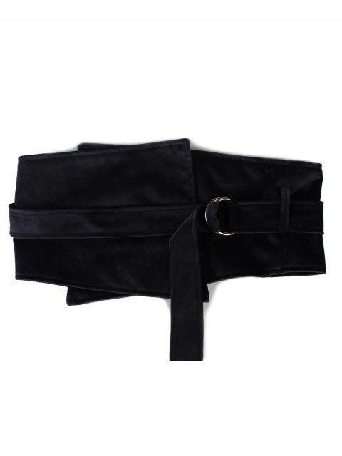outfits Metal Buckle Solid Color Wide Waist Belt - BLACK  Mobile