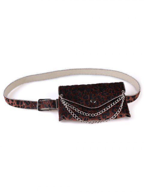 latest Unique Leopard Chain Fanny Pack Waist Belt Bag - COFFEE  Mobile