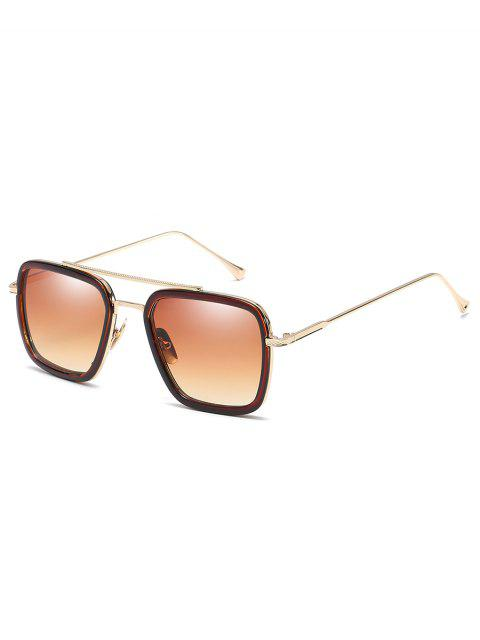 trendy Metal Frame Crossbar Squared Sunglasses - CAMEL BROWN  Mobile
