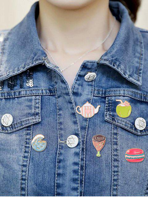 women 10pcs Pizza Glass Shape Brooches - MULTI-A  Mobile