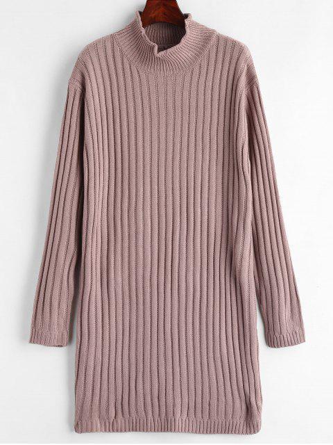 Mock Neck Pullover Kleid - Glyzinie Lila Eine Größe Mobile