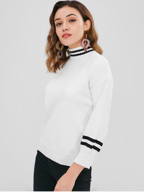 fashion Drop Shoulder Mock Neck Stripes Sweater - WHITE ONE SIZE Mobile