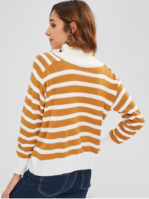fancy Raglan Sleeve Stripes Mock Neck Sweater - MULTI ONE SIZE Mobile
