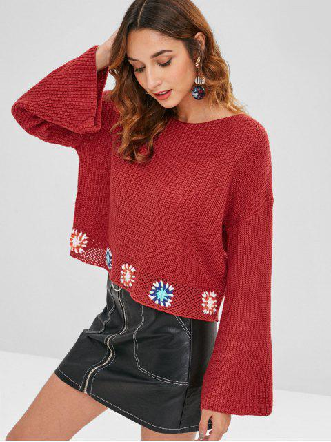 lady Flare Sleeve Flower Crochet Sweater - RED WINE ONE SIZE Mobile