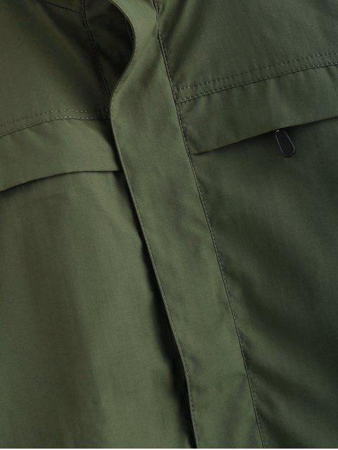 new Solid Zip Windbreaker Jacket - ARMY GREEN XL Mobile