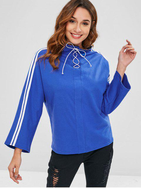 shop Stripes Panel Lace Up Top - DODGER BLUE ONE SIZE Mobile