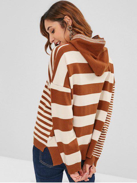 fashion Slit High Low Stripes Sweater - MULTI ONE SIZE Mobile