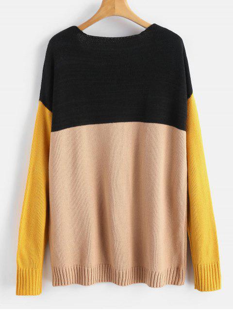 lady ZAFUL Color Block Drop Shoulder Sweater - MULTI S Mobile
