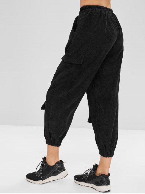shops Cargo Corduroy Joggers Pants - BLACK ONE SIZE Mobile