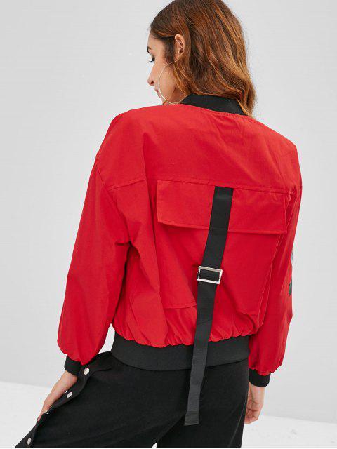 best Zipper Pockets Bomber Jacket - RED XL Mobile