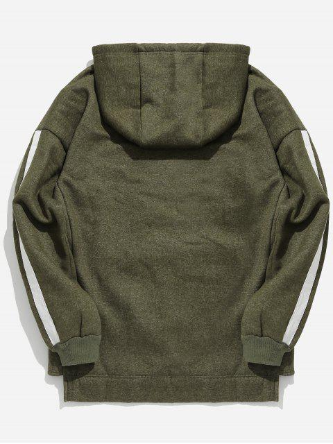 unique Dropped Shoulder Striped Pullover Hoodie - ARMY GREEN 2XL Mobile