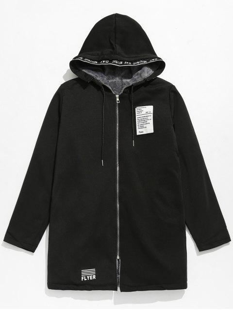 Applique verschönert mit Kapuze Fleece-Jacke - Schwarz M Mobile