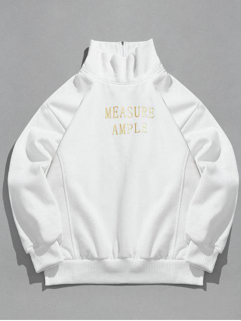 Sweat-shirt Lettre Imprimée à Rayure Latérale en Toison - Blanc L Mobile