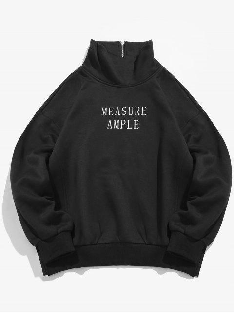 Buchstabe-Druck-Seitenspalten-Fleece-Sweatshirt - Schwarz S Mobile