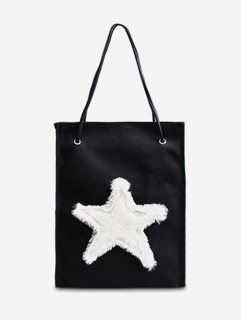 ladies Star Embellished Canvas Shoulder Bag - BLACK  Mobile