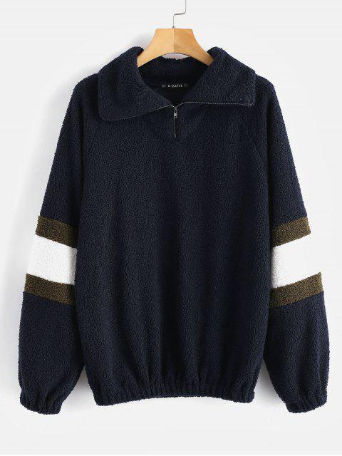 ZAFUL Sweat-shirt Texturé en Fausse Fourrure - Bleu Foncé L Mobile