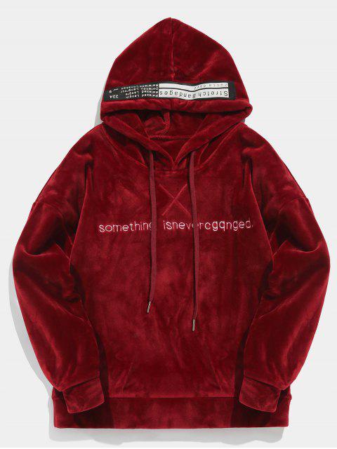 trendy Pullover Letter Printed Velvet Hoodie - RED WINE M Mobile