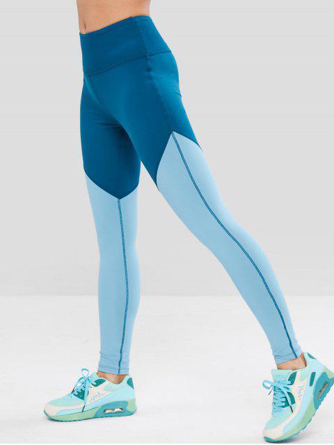 Leggings de entrenamiento ZAFUL Skinny Color Block - Azul de Seda L Mobile