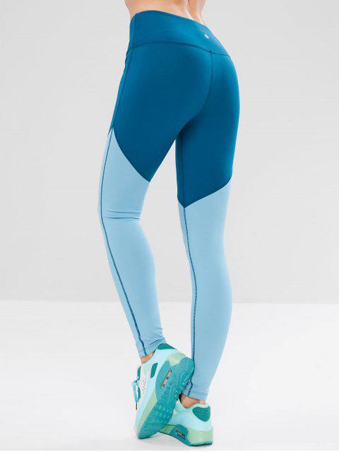 Leggings de entrenamiento ZAFUL Skinny Color Block - Azul de Seda S Mobile