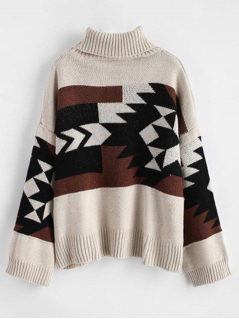 outfit Turtleneck Geo Jacquard Drop Shoulder Sweater - MULTI ONE SIZE Mobile