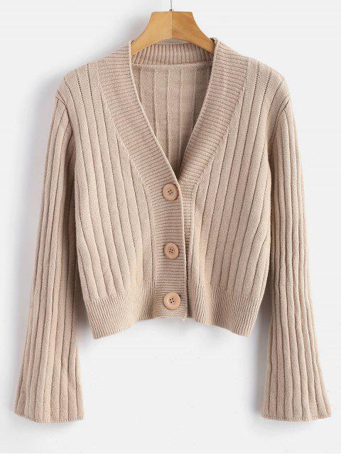 fancy Wide Ribbed Cardigan - BLANCHED ALMOND ONE SIZE Mobile