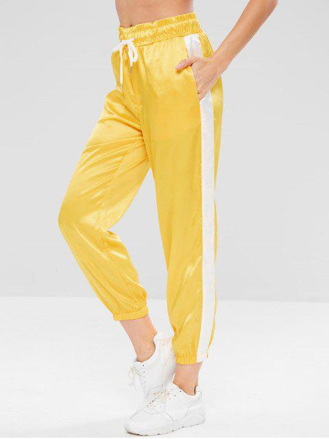 best Satin Contrast Jogger Sweat Pants - YELLOW M Mobile