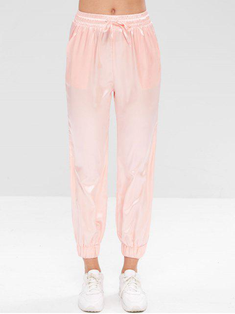 Pantalon de Jogging Athlétique en Satin à Cordon - ROSE PÂLE S Mobile