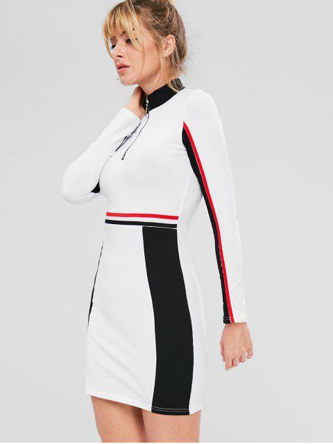 Kontrastfarbiger, farbiger Block mit sportlichem Kleid - Weiß S Mobile