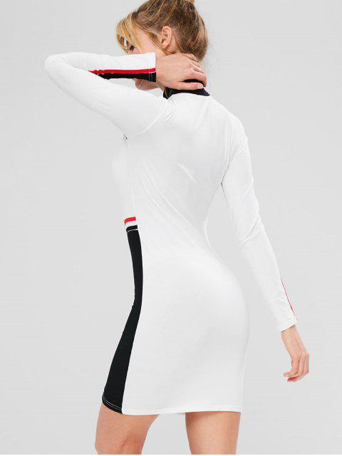 Kontrastfarbiger, farbiger Block mit sportlichem Kleid - Weiß M Mobile