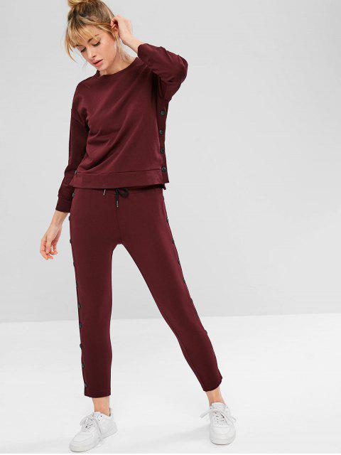 ZAFUL Drop Schulter High Low Button Sweatshirt - Roter Wein L Mobile