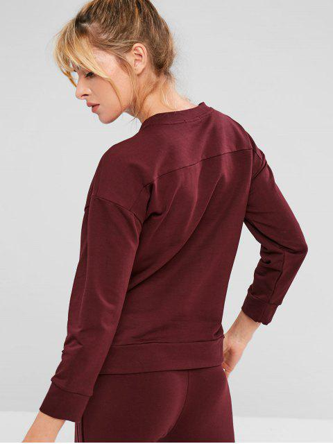 affordable ZAFUL Drop Shoulder High Low Button Sweatshirt - RED WINE L Mobile