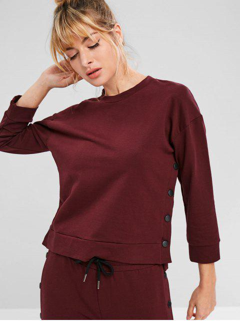 ZAFUL Drop Schulter High Low Button Sweatshirt - Roter Wein M Mobile
