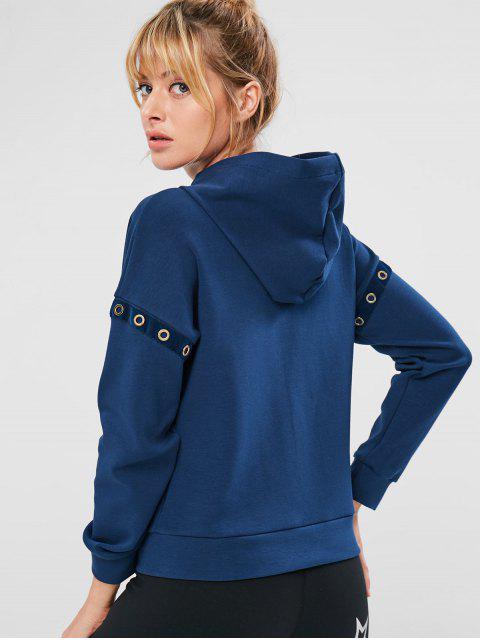 online ZAFUL Eyelet Zipper Drop Shoulder Jacket - CADETBLUE M Mobile