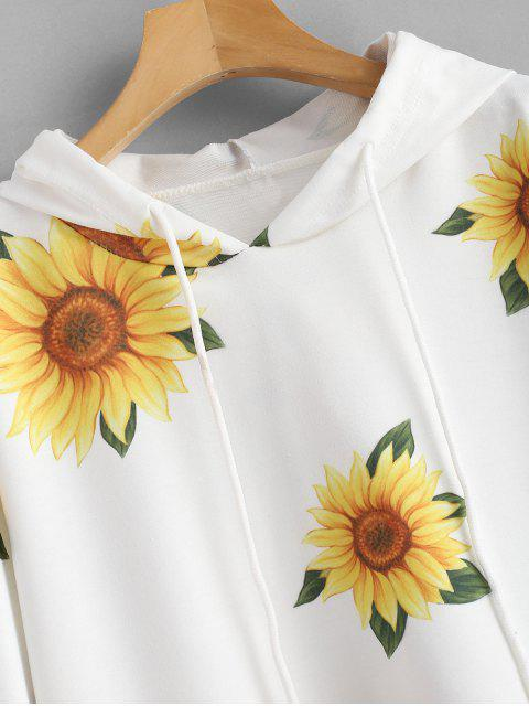 fashion Sunflower Print Graphic Hoodie - WHITE S Mobile
