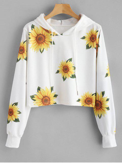 trendy Sunflower Print Hoodie - WHITE M Mobile