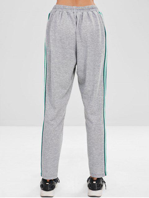 ZAFUL Stripes Pantalones deportivos rectos - Gris Claro S Mobile