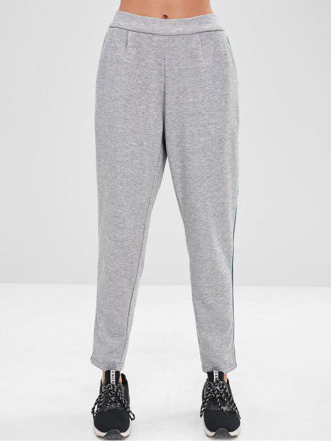 ZAFUL Stripes Pantalones deportivos rectos - Gris Claro M Mobile