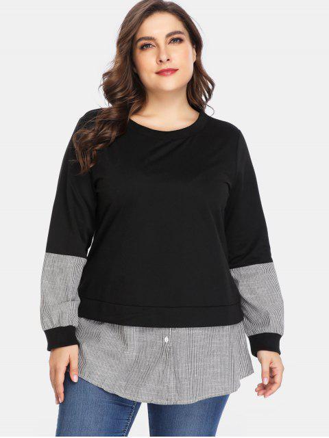 Sweat-shirt Tunique Panneau Rayé de Grande Taille - Noir 4X Mobile
