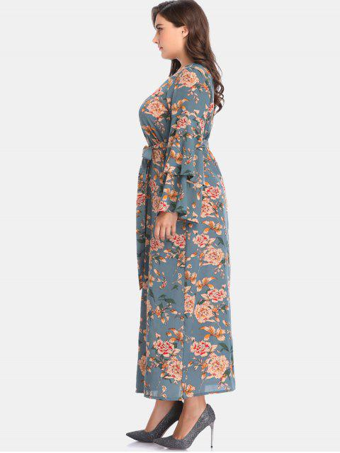 fancy Floral Bell Sleeve Plus Size Maxi Dress - PEACOCK BLUE 5X Mobile