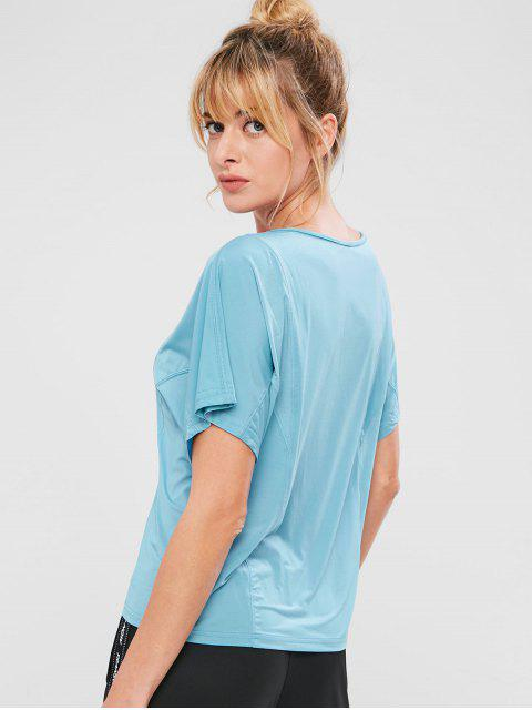 chic ZAFUL Batwing Sleeve T-shirt - BABY BLUE L Mobile