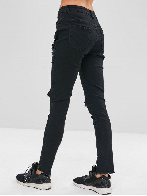 ZAFUL Jeans ajustados desgastados deshilachados - Negro L Mobile