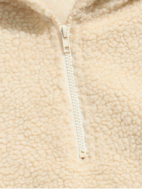 sale Half Zip Fluffy Faux Fur Pullover Hoodie - CORNSILK M Mobile