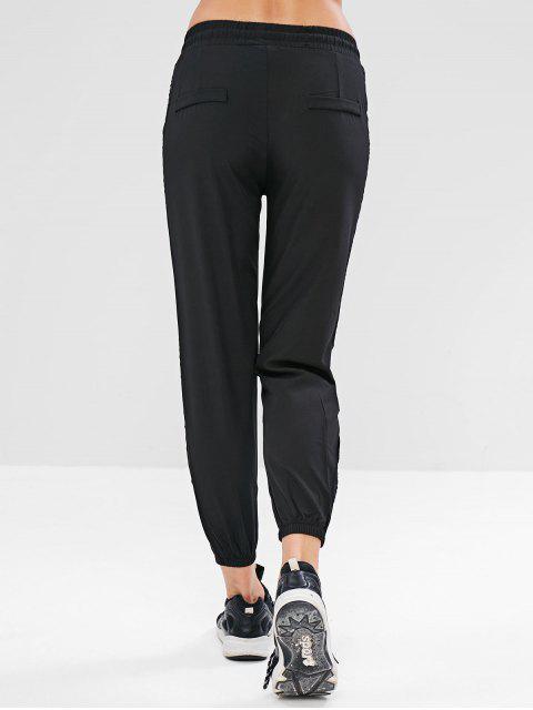 Pantalones de jogger con abertura en el cordón - Negro M Mobile