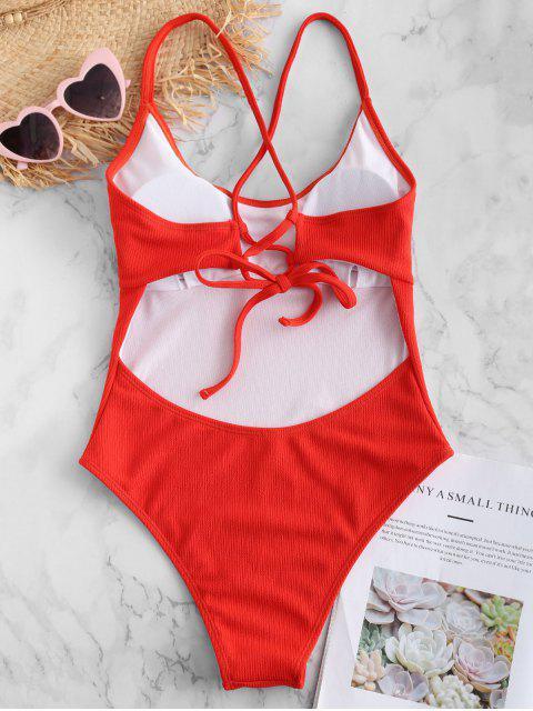 ZAFUL Backless traje de baño cruzado de canalé cruzado - Rojo Frijol M Mobile