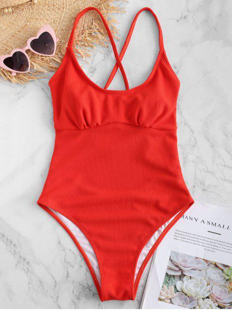 ZAFUL Backless traje de baño cruzado de canalé cruzado - Rojo Frijol L Mobile